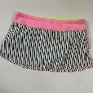 Ivivva Girls Striped Skirt Skort Tennis Pink Green
